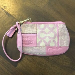 Coach Pink Patchwork Wristlet - never used!
